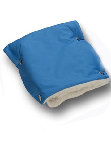 Муфты-рукавички на коляску однотон. (мех) Голубые