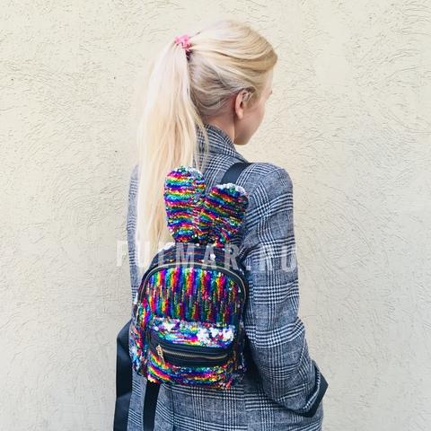 Рюкзак детский с пайетками меняющий цвет Радужный-Серебристый и ушами зайца