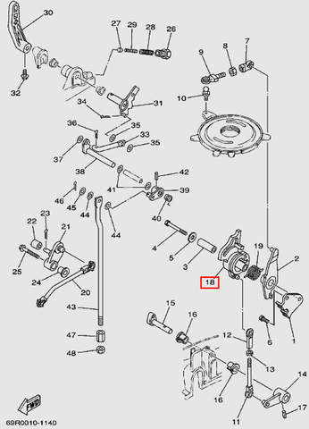 Шкив газа для лодочного мотора Т30 Sea-PRO (13-18)