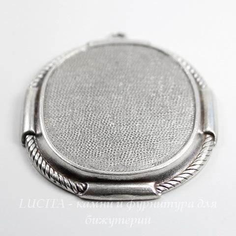 """Сеттинг - основа - подвеска """"Плетенка"""" для камеи или кабошона 41х31 мм (оксид серебра)"""