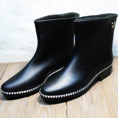 Резиновые сапоги женские черные короткие Hello Rain Story 1019 Black