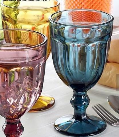 Фужер для вина цветной  набор 6 шт