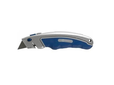Нож технический КОБАЛЬТ трапециевидные лезвия 19 мм (6 шт.) металлический корпус, быстрая смена лезвия, блистер