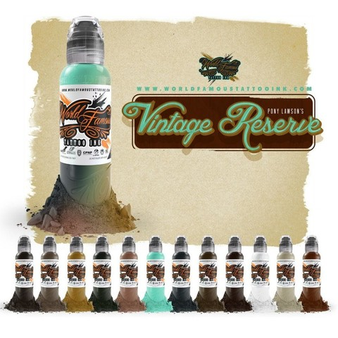 Краска World Famous Tattoo Ink  PONY LAWSON - VINTAGE RESERVE - 12шт