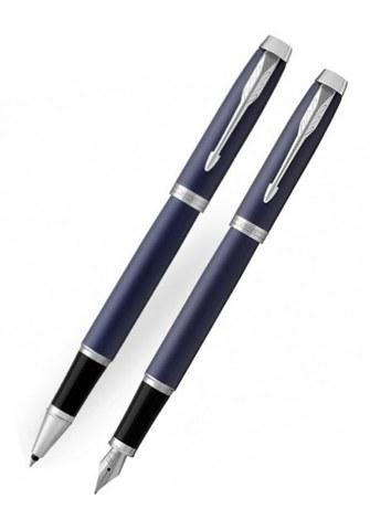 Подарочный набор: Перьевая и ручки роллер Parker IM Metal Matte Blue CT123
