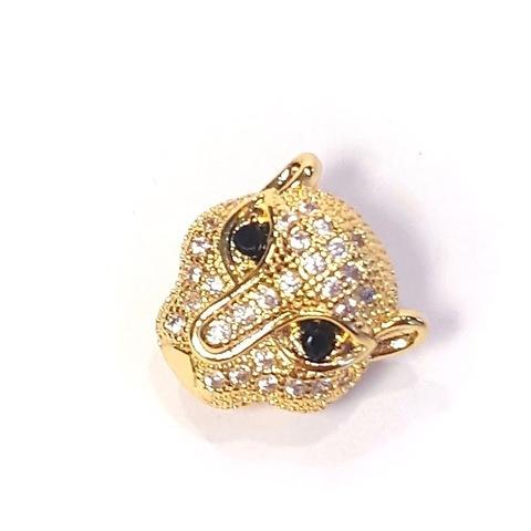 Бусина Леопард с черными цирконами 11мм цвет золото