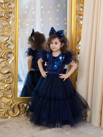 Темно-синее нарядное платье с пайетками (Арт.1921)
