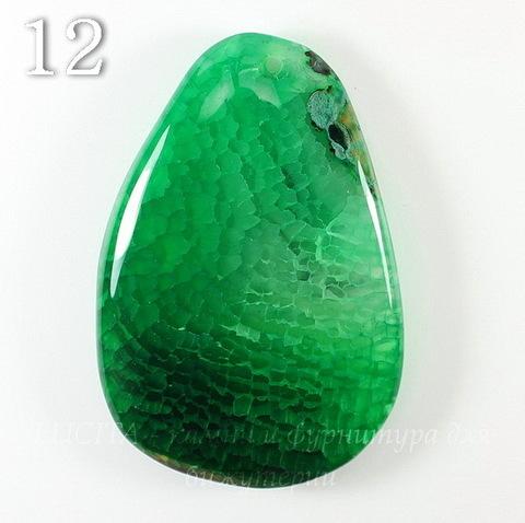 """Подвеска Агат """"Крэкл"""" (тониров), цвет - темно-зеленый (№12 (61х41 мм))"""