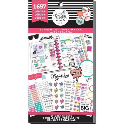 Блокнот со стикерами для ежедневника Create 365 Happy Planner Sticker Value Pack-BIG - Super Mom, 1657 шт