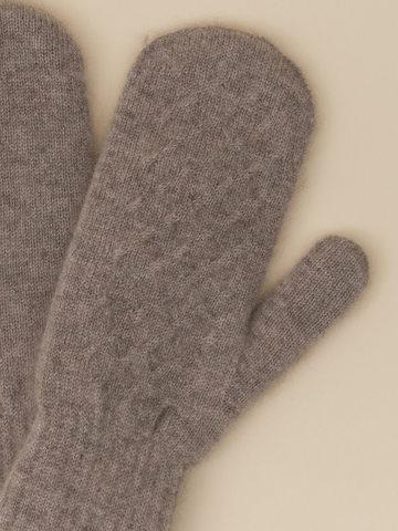 Женские варежки бежевого цвета из 100% кашемира - фото 2