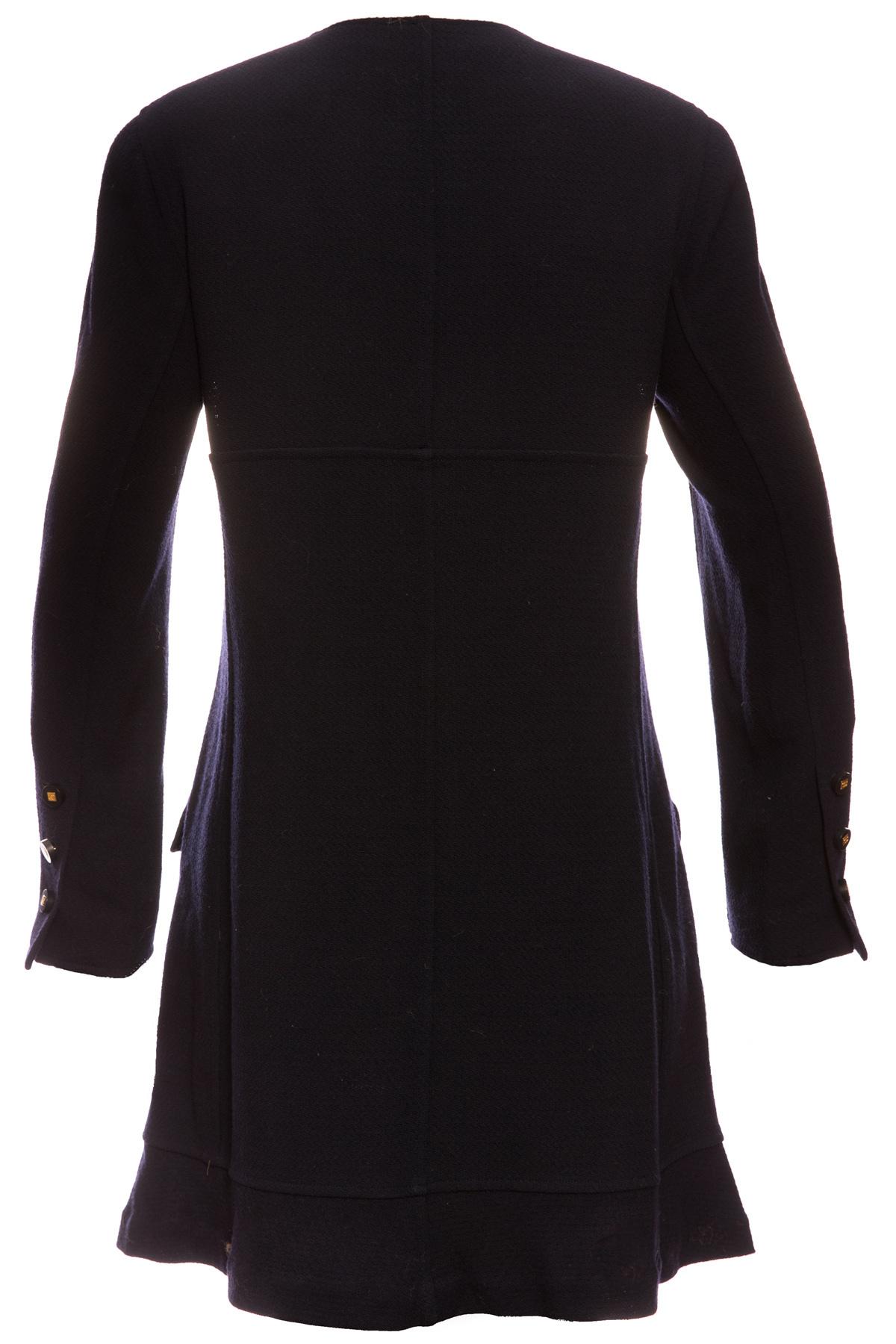 Элегантное темно-синее платье-пальто от Chanel, 42 размер
