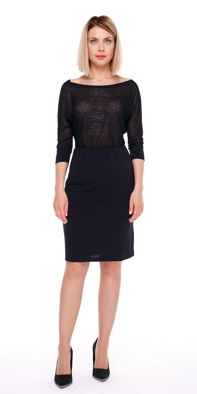 Платье З776-211 - Трикотажное платье с цельнокроеным рукавом и V-образным вырезом горловины на спинке.