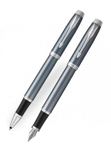 Подарочный набор: Перьевая и ручки роллер Parker IM Metal Light Blue Grey CT123