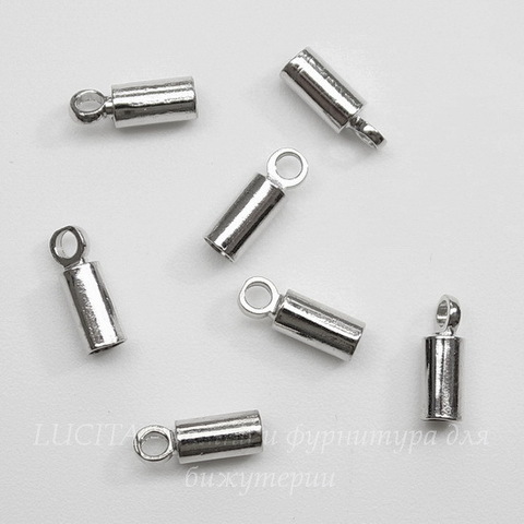 Концевик для шнура 2,2 мм (цвет - платина) 8х3 мм, 10 штук