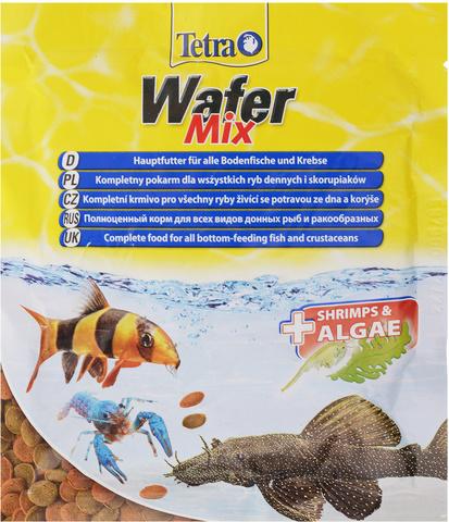 Tetra Wafer Mix корм для травоядных, хищных и донных рыб с добавлением креветок (пластинки) 15г