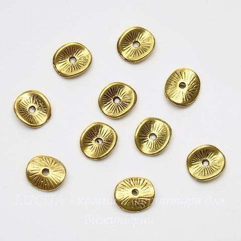 Шапочка для круглой плоской бусины/кулона (цвет-античное золото) 10х9 мм,10шт