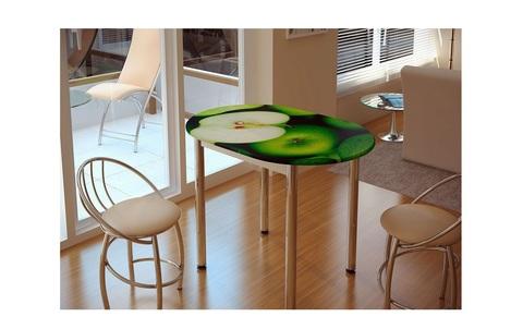 Стол обеденный с принтом Зеленое яблоко Белый/зеленое яблоко