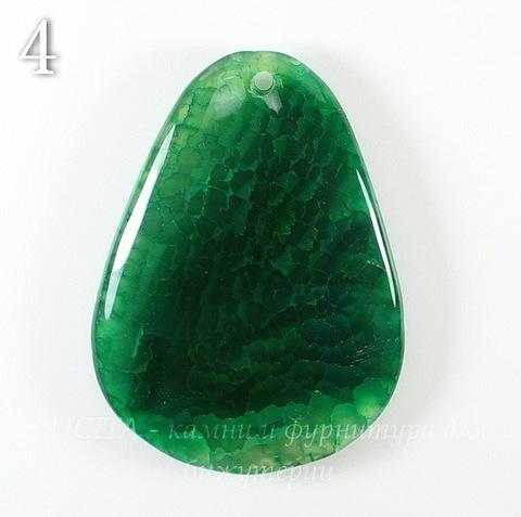 """Подвеска Агат """"Крэкл"""" (тониров), цвет - темно-зеленый (№4 (56х41 мм))"""