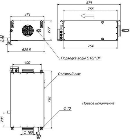 Канальный увлажнитель воздуха Breezart 550 HumiEL P 2,4-1,2-220 с электрическим нагревателем