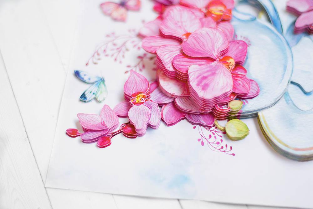 Розовые орхидеи - готовая работа, детали сюжета.