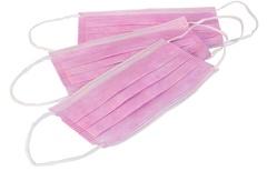 Маска 3-слойная на резинках (Спанбонд, розовый, 50 шт/упк)