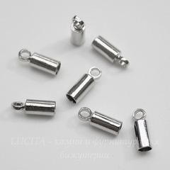 Концевик для шнура 2,2 мм, 8х3 мм (цвет - платина), 10 штук