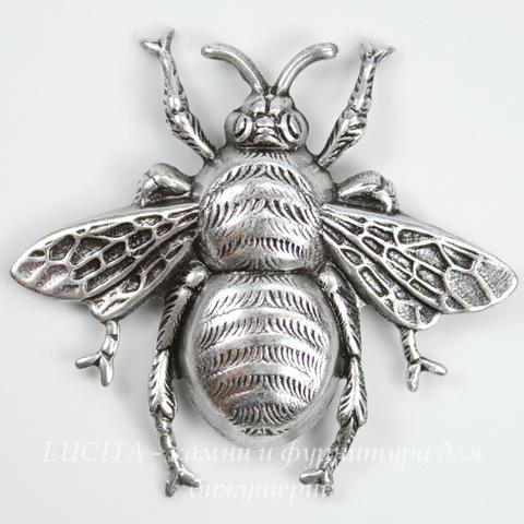 """Винтажный декоративный элемент - штамп """"Пчела средняя"""" 42х39 мм (оксид серебра)"""