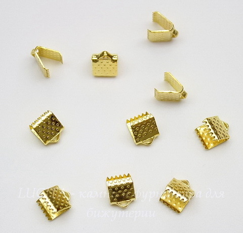 Концевик для лент 6 мм (цвет - золото), 10 штук