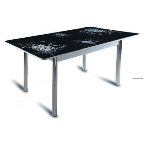 Стол обеденный Грация с микролифтом стеклянный прямоугольный черный