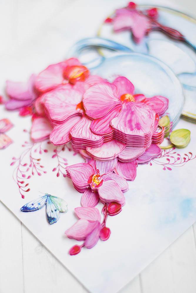 Розовые орхидеи - готовая работа, вид сверху.