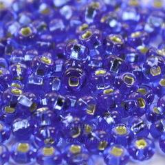 37050 Бисер 6/0 Preciosa прозрачный голубой с серебряным квадратным центром