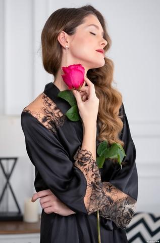Черный шелковый халат Mia-Amore Amanda 3633 (70% шелк)