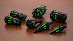 PolyHero dice warrior set black & goblin green