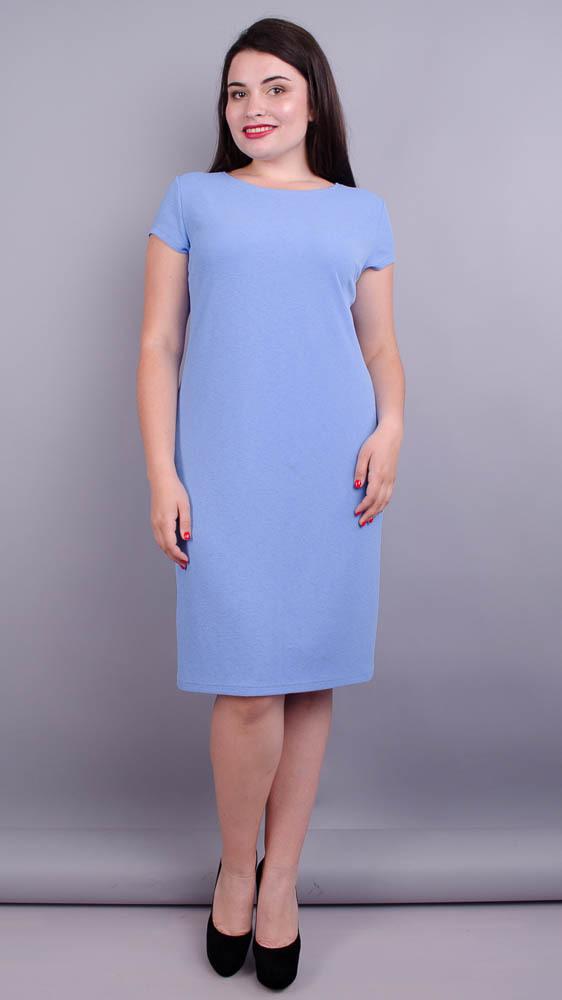 Аріна літо креп. Ніжна сукня великих розмірів. Блакитний.