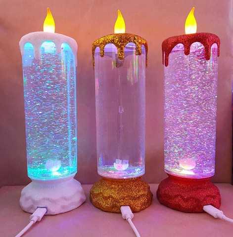 Новогодний ночник свеча с блестками1