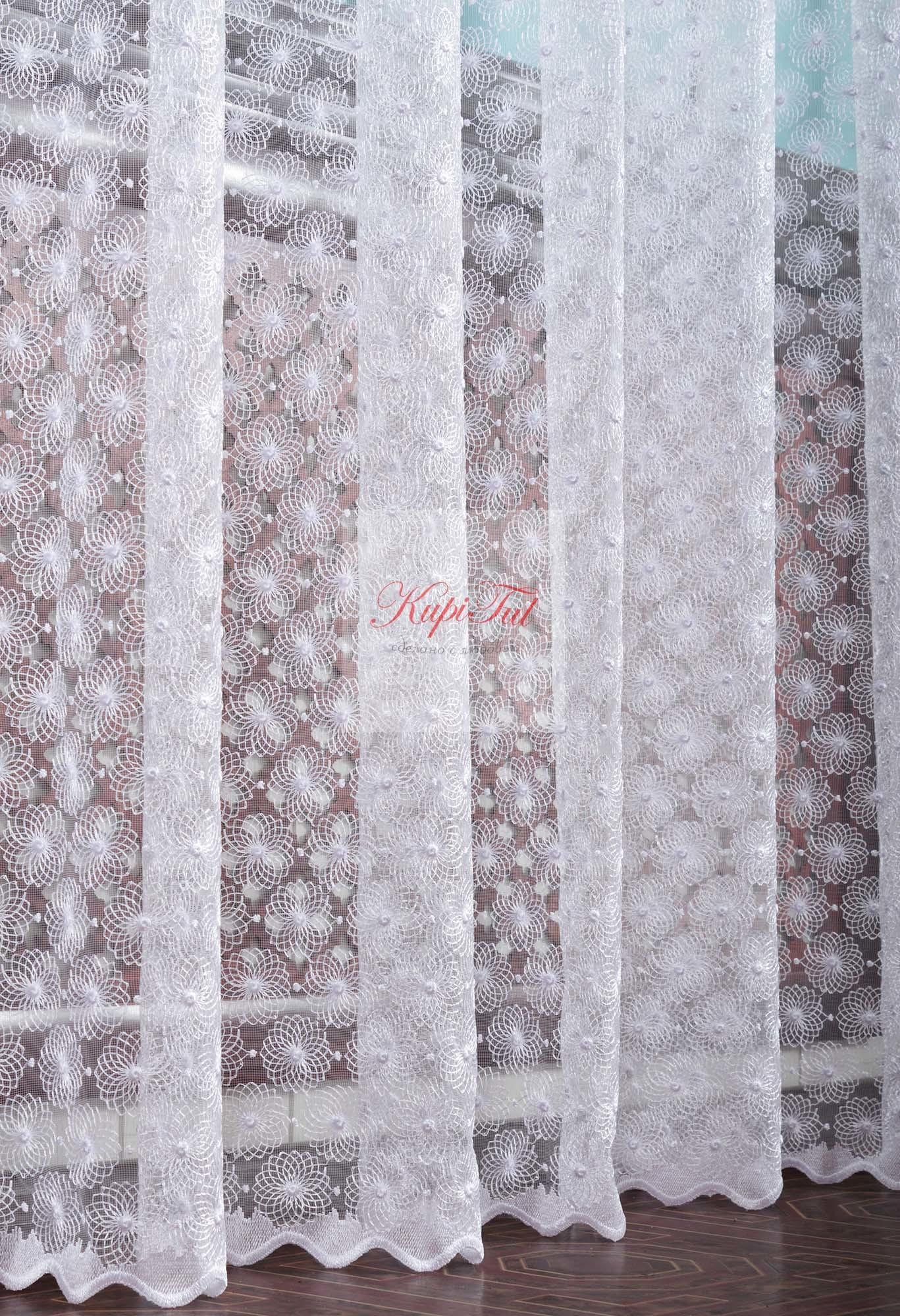 Микросетка с вышивкой Ромашка-2 (белый)