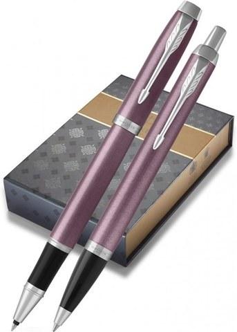 Подарочный набор с чехлом: Роллер и Шариковая ручки Parker IM Metal Light Purple CT