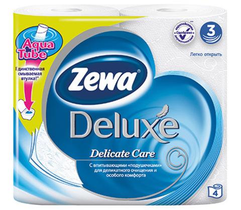 Туалетная бумага Zewa Deluxe Белая 3-х слойная 4шт