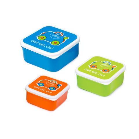 Ланч бокс детский комплект голубой, зеленый и оранжевый
