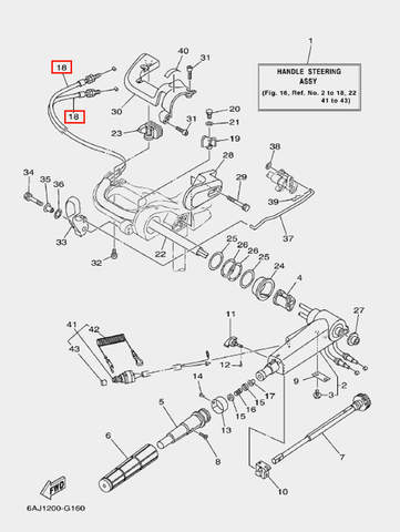 Трос газа для лодочного мотора F20 Sea-PRO (16-18)