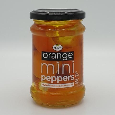 Перец мини оранжевый сладкий фаршированный сыром в масле ROYAL MEDITERRANEAN, 250 гр