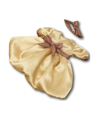 Платье шелковое - Бежевый. Одежда для кукол, пупсов и мягких игрушек.