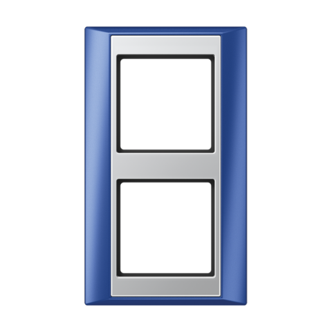 Рамка на 2 поста. Цвет Синий-алюминий. JUNG A PLUS. AP582BLAL