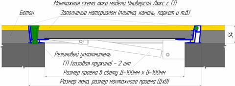 Люк напольный Универсал Люкс (с амортизаторами) 800х 800
