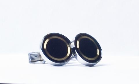 Запонки La madre белого металла черные