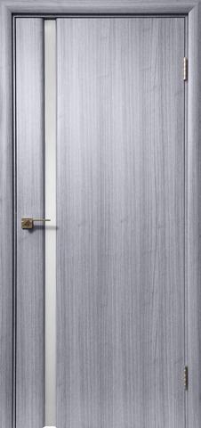 Дверь Дера Оскар 983, стекло триплекс белый, цвет сандал серый, остекленная