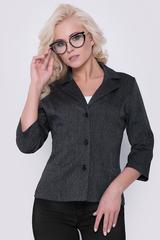 """Классический офисный пиджак для супер леди прямого силуэта. Рукав 3/4, ворот """"английский"""", отложной.Длина жакета / рукава 44р.-50р. = 57-60см./44см на всех размерах."""