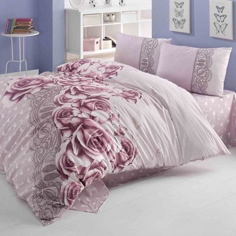 Евро постельное белье ранфорс Roselace