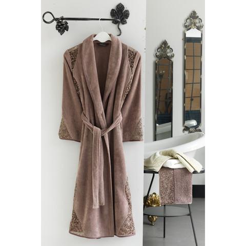 HAZEL кофейный махровый женский халат Soft Cotton (Турция)