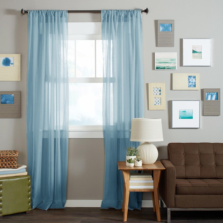 Длинные шторы. Тюль вуаль Nouvelle-2 (Aqua Blue)